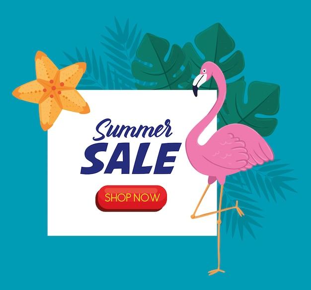 Banner de venta de verano, descuento de temporada con flamenco, hojas y flores tropicales, invitación para comprar con la etiqueta de oferta de venta de verano ahora, tarjeta de oferta especial
