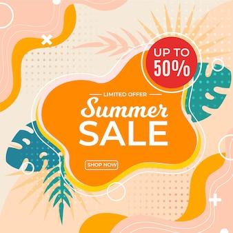Banner de venta de verano con descuento