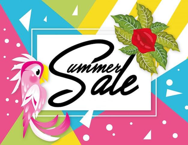 Banner de venta de verano con diseño geométrico loro