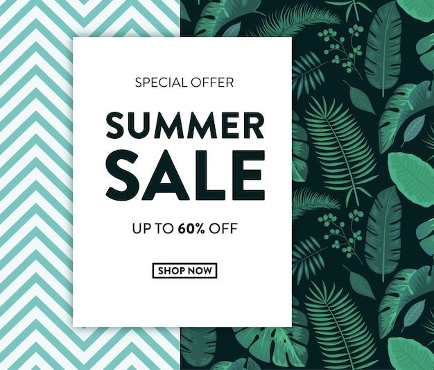 Banner de venta de verano con diseño tropical.