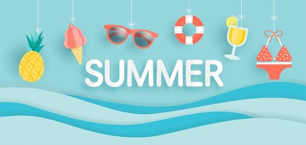Banner de venta de verano con elemento de verano en papel cortado estilo.