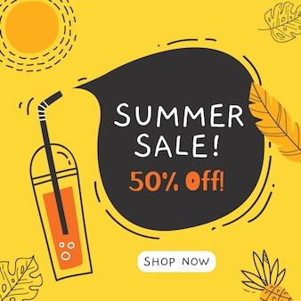 Banner de venta de verano con elementos de doodle