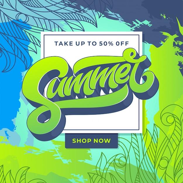 Banner de venta de verano con estampado de flores esbozado a mano. plantilla para banner, tarjeta, cartel. tipografía artesanal. ilustración.