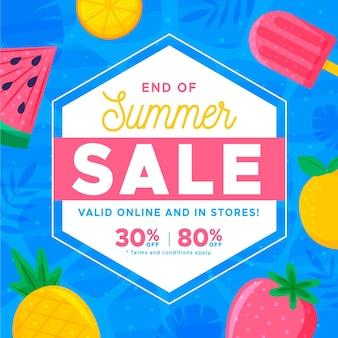 Banner de venta de verano de fin de temporada con frutas y helados