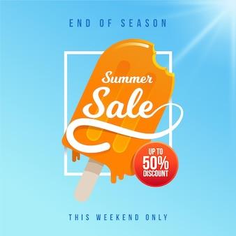 Banner de venta de verano de fin de temporada con helado