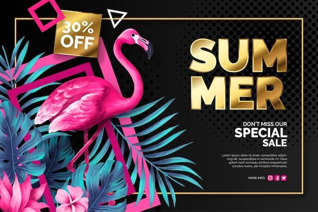 Banner de venta de verano con flamenco rosa y hojas tropicales.