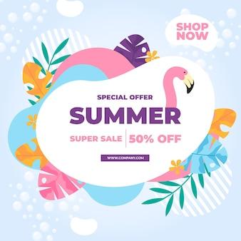Banner de venta de verano con flamingo y hojas
