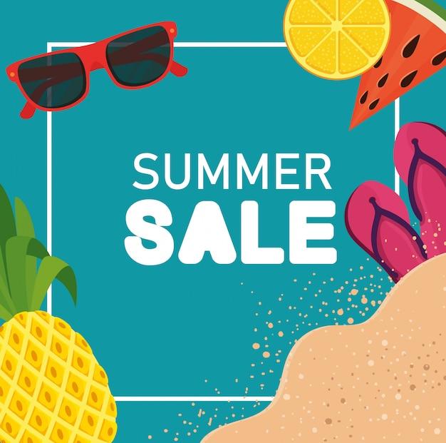 Banner de venta de verano con flip-flop y frutas.