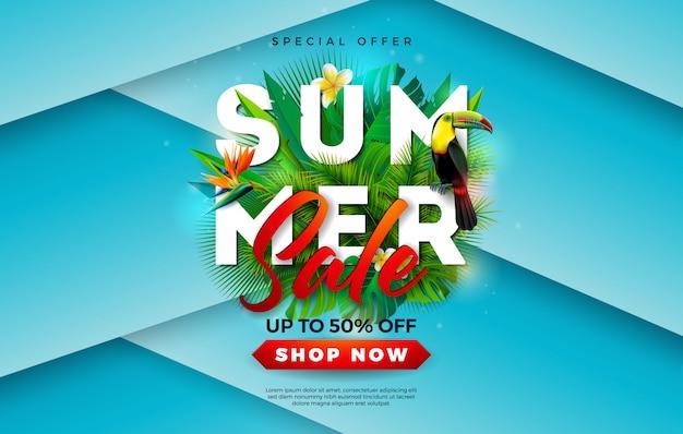 Banner de venta de verano con flor y pájaro tucán