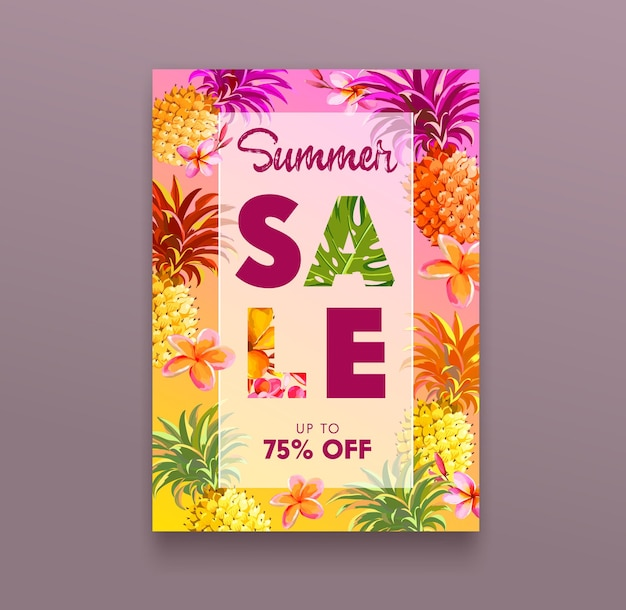 Banner de venta de verano con flores de piña y plumeria sobre fondo de colores. cartel publicitario con elementos botánicos florales, folleto publicitario promocional, concepto de descuento en la tienda, ilustración vectorial de dibujos animados