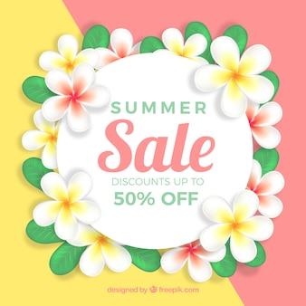 Banner de venta de verano con flores
