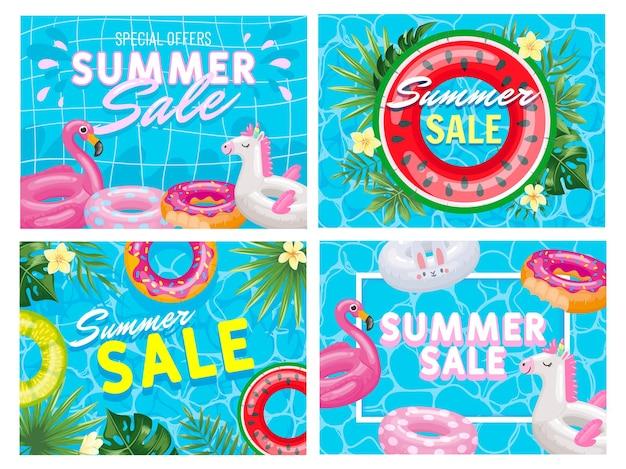 Banner de venta de verano. folleto de oferta de piscina de verano, elegante conjunto de ilustración de oferta especial de anillo flotante de flamenco rosa y sandía.