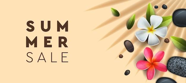 Banner de venta de verano con fondo de flores de palm frangipani para póster flyer tarjeta postal portada imagen vectorial