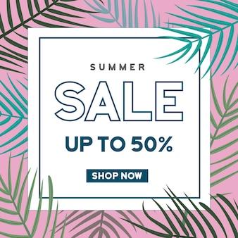 Banner de venta de verano con fondo de hojas