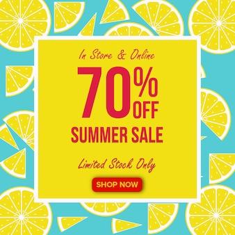 Banner de venta de verano con fondo de limón