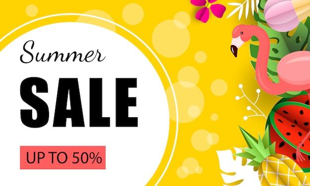 Banner de venta de verano de frutas tropicales exóticas
