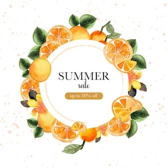 Banner de venta de verano con frutas tropicales