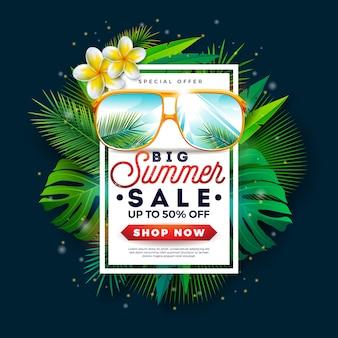 Banner de venta de verano con gafas de sol y hojas de palmera exóticas