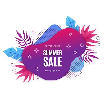 Banner de venta de verano de gradiente líquido con elementos flotales