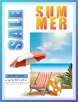 Banner de venta de verano con hamaca y sombrilla en la playa.