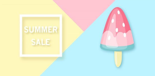 Banner de venta de verano con helado de sandía.