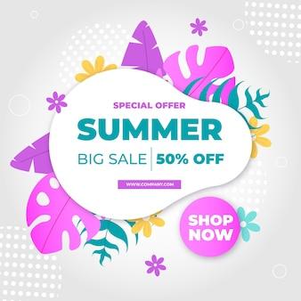 Banner de venta de verano con hojas coloridas