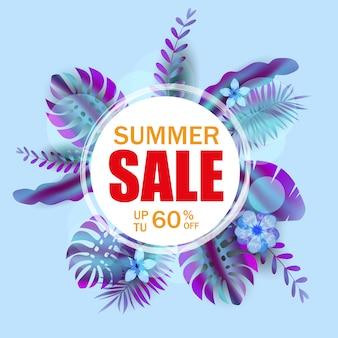 Banner de venta de verano con hojas de palmera, hoja de selva, degradado holográfico