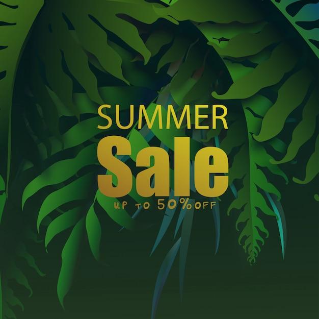 Banner de venta de verano con hojas tropicales, exóticas hojas tropicales de diseño.
