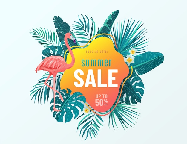 Banner de venta de verano con hojas tropicales, flamencos, flores. oferta especial. diseño trópico