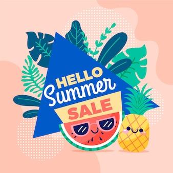 Banner de venta de verano hola dibujado a mano con frutas
