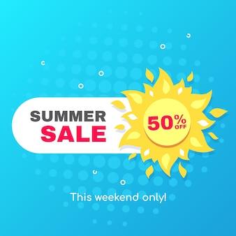 Banner de venta de verano con icono de sol sobre fondo azul, insignia de promoción para descuento de temporada
