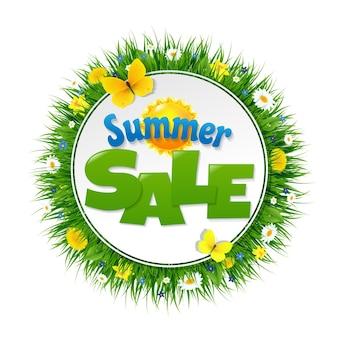 Banner de venta de verano con ilustración de malla de degradado