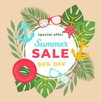 Banner de venta de verano para ir de compras