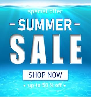 Banner de venta de verano con letras grandes de tipografía blanca océano realista 3d bajo el agua