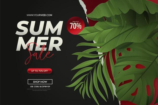 Banner de venta de verano moderno con hojas tropicales realistas y fondo de papel rasgado