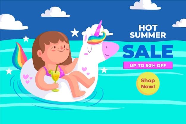 Banner de venta de verano con niño y unicornio