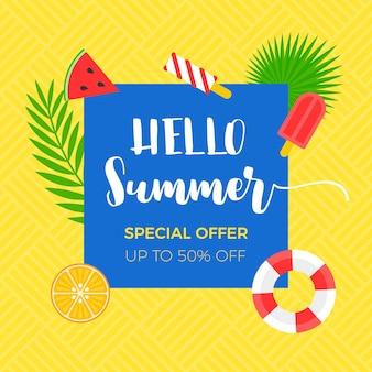 Banner de venta de verano con objeto relacionado con el verano