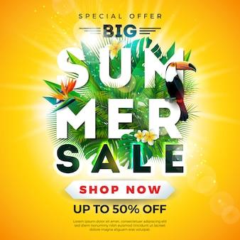 Banner de venta de verano con pájaro tucán y hojas de palma