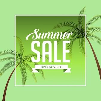 Banner de venta de verano con palmera.