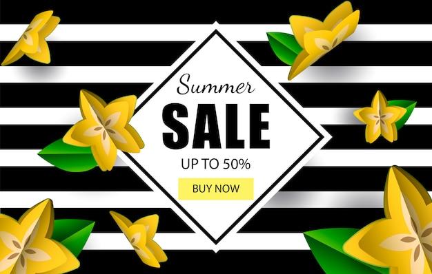 Banner de venta de verano papel cortado por carambola