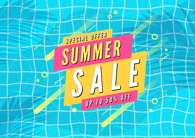 Banner de venta de verano. piscina con hojas de palma sombra vista superior de fondo.