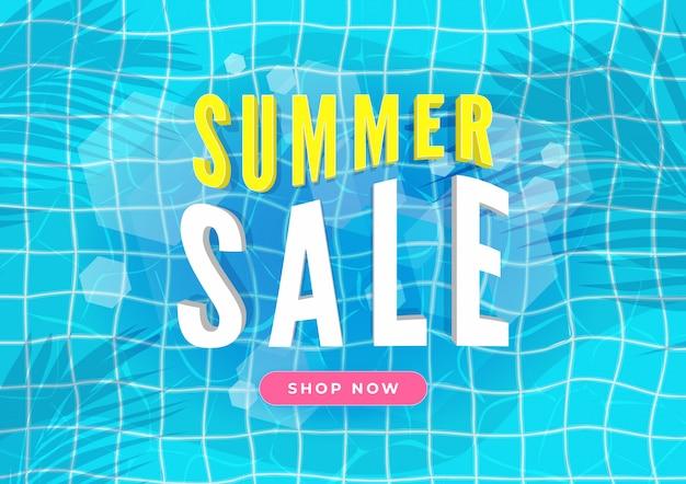 Banner de venta de verano. piscina con hojas de palmera.
