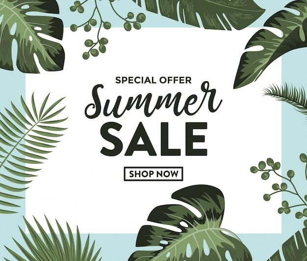 Banner de venta de verano con plantas exóticas de la selva.