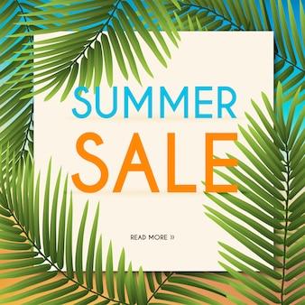 Banner de venta de verano con plantas tropicales. cartel, folleto. fondo borroso ilustración.