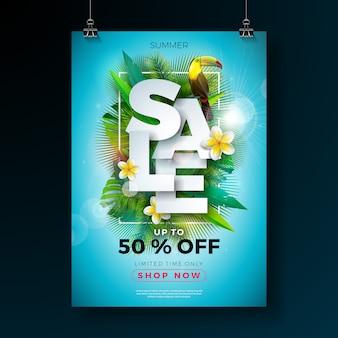 Banner de venta de verano plantilla con flores y hojas exóticas