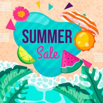 Banner de venta de verano con playa