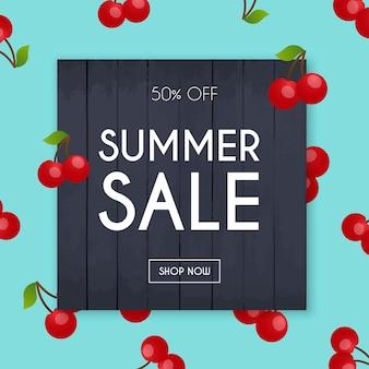 Banner de venta de verano. póster, folleto,. cereza sobre un fondo