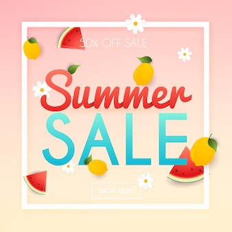 Banner de venta de verano. póster, folleto,. rebanadas de sandía y limón sobre un fondo.