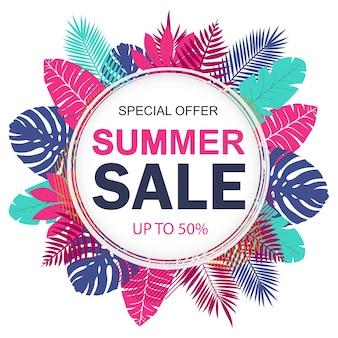 Banner de venta de verano para promoción con hojas tropicales. ilustración