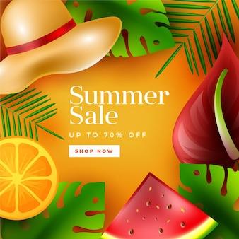Banner de venta de verano realista